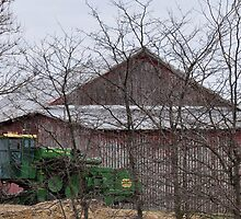 Green Deere and Red Barn by mltrue