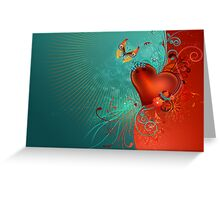 Red Heart with Butterfly Greeting Card