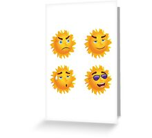 Sun with Different Emotions Greeting Card