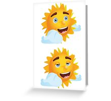 Sun with Different Emotions 2 Greeting Card