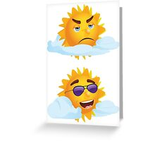 Sun with Different Emotions 3 Greeting Card