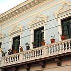 Balcony over a City Street in Old Quito by Laurel Talabere