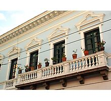 Balcony over a City Street in Old Quito Photographic Print