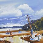 Beach Boat and Fishing Boats on the Gippsland Lake by PamelaMeredith
