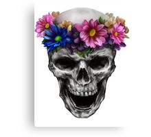 skull tattoo spring flowers bone smile darkart rishama Canvas Print