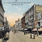 1911 Main Street KCMO North view from Twelfth Street antique Postcard by Steve Sutton