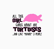 All this girl cares about are tortoises.... (Black & Pink) Womens Fitted T-Shirt
