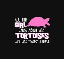 All this girl cares about are tortoises... (White & Pink) Womens Fitted T-Shirt