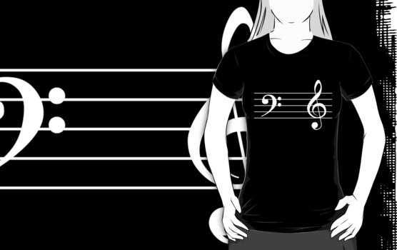 Left Hand  Bass / Right Hand Treble (White on Black/Colour Version) by ugghhzilla