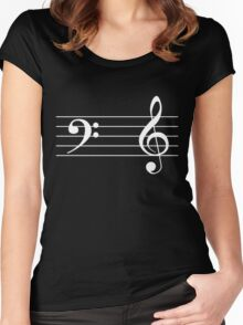 Left Hand  Bass / Right Hand Treble (White on Black/Colour Version) Women's Fitted Scoop T-Shirt