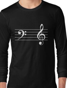 Left Hand  Bass / Right Hand Treble (White on Black/Colour Version) Long Sleeve T-Shirt