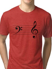 Left Hand  Bass / Right Hand Treble (Black on White/Colour Version) Tri-blend T-Shirt