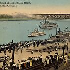 1913 KCMO Boat Landing at foot of Main Street antique postcard by Steve Sutton
