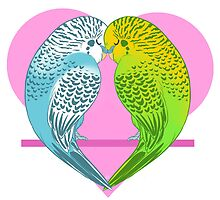 Pastel Animals - Love Budgies by RileyOMalley