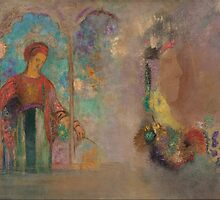 Odilon Redon - Woman in a gothic arcade- woman with flowers by Adam Asar