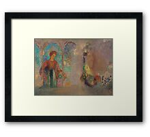 Odilon Redon - Woman in a gothic arcade- woman with flowers Framed Print