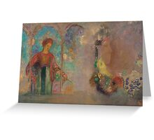 Odilon Redon - Woman in a gothic arcade- woman with flowers Greeting Card