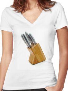 Knife Block Women's Fitted V-Neck T-Shirt
