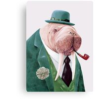 Walrus Green Canvas Print