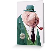 Walrus Green Greeting Card