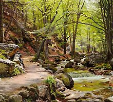 Peder Mørk Mønsted – private collection. A Forest near Ilsenburg in the Harz (1908) by Adam Asar