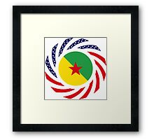 French Guianan American Multinational Patriot Flag Series Framed Print