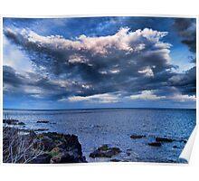 Nuvole sul mare al tramonto Poster