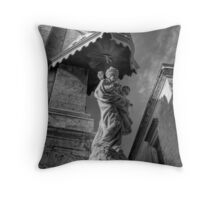 B&W Madonna and Baby Jesus Throw Pillow