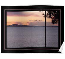 Lone Sailboat at Sunset Poster