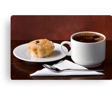 Black coffee and muffin Canvas Print