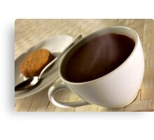 Black coffee for breakfast close up Canvas Print