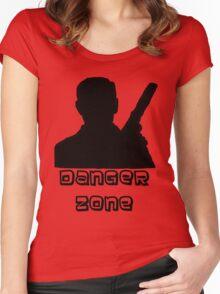 Danger Zone Black Print Women's Fitted Scoop T-Shirt