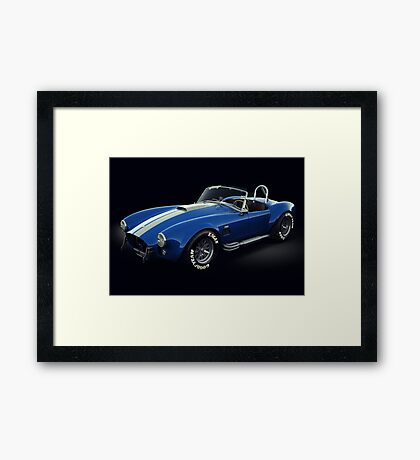 Shelby Cobra 427 Blue with White Stripe Framed Print