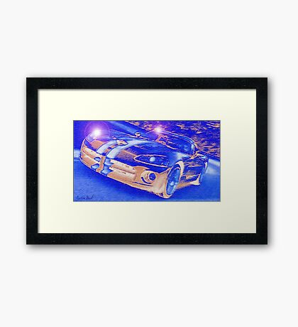 Blue-Neon-Nights-Car-Justin Beck-picture-2015106 Framed Print
