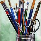 Artist Brushes - original still life painting by LindaAppleArt