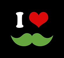 I Heart I Love Green Mustaches on Black by TigerLynx