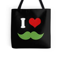 I Heart I Love Green Mustaches on Black Tote Bag