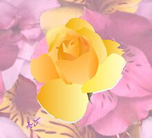 Soft Pink Flowers & Yellow Rose by moondreamsmusic
