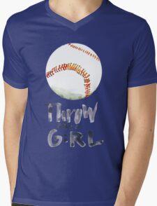 Throw Like a Girl Mens V-Neck T-Shirt