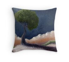 Tree Over the BIg Black Throw Pillow
