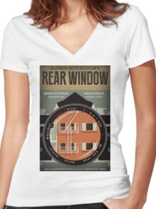 Rear Window alternative movie poster Women's Fitted V-Neck T-Shirt