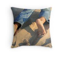bare foot beach Throw Pillow