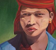 Pa O girl from Myanmar with Thanaka by Marsha Hallet