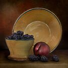 Blackberries And A Plum by Holly Cawfield