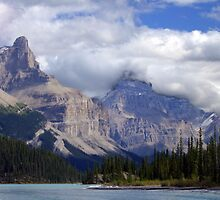 Two Peaks-Maligne Lake by George Cousins