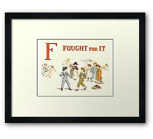 Kate Greenaway 1886 a apple pie F Fought for it Framed Print