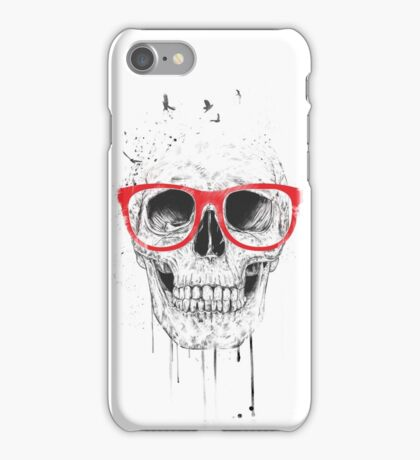 Skull with red glasses iPhone Case/Skin