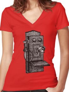Telephone old school Women's Fitted V-Neck T-Shirt