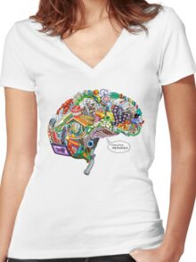Pixelated Memories Women's Fitted V-Neck T-Shirt