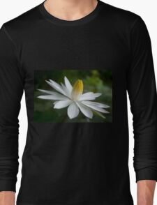 Night Bloomer ~ White Water Lily with Splayed Petals   Long Sleeve T-Shirt